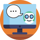 Image of a Chatbot on a Computer with a text bubble