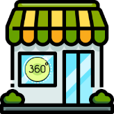 Storefront with a sign reading 360º in the window