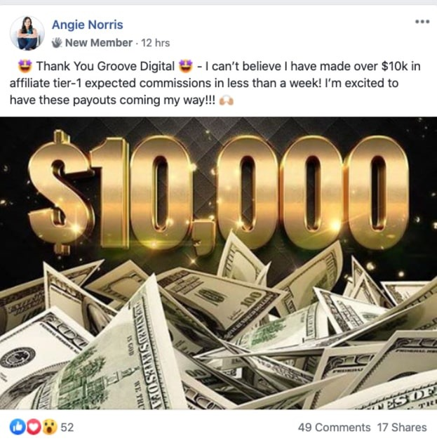 image showing the affiliate earnings of Angie Norris