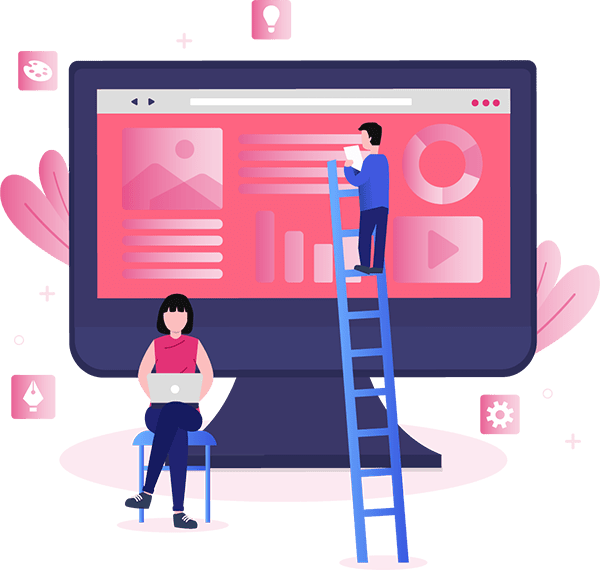 graphic of two people building a website with the page builder