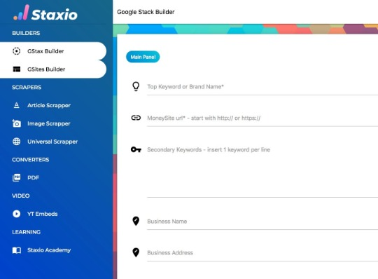 Staxio User Interface
