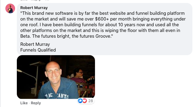 groovefunnels testimonial Rob
