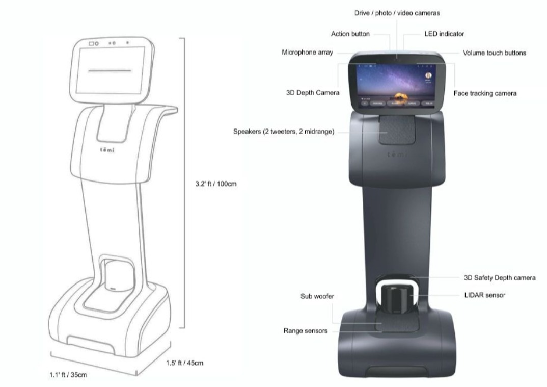 Sizes and dimensions of the Temi robot and location of all its features