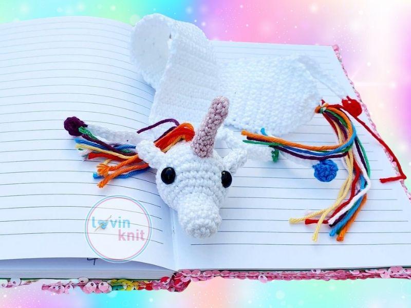 Crochet Rainbow Unicorn Bookmark Pattern