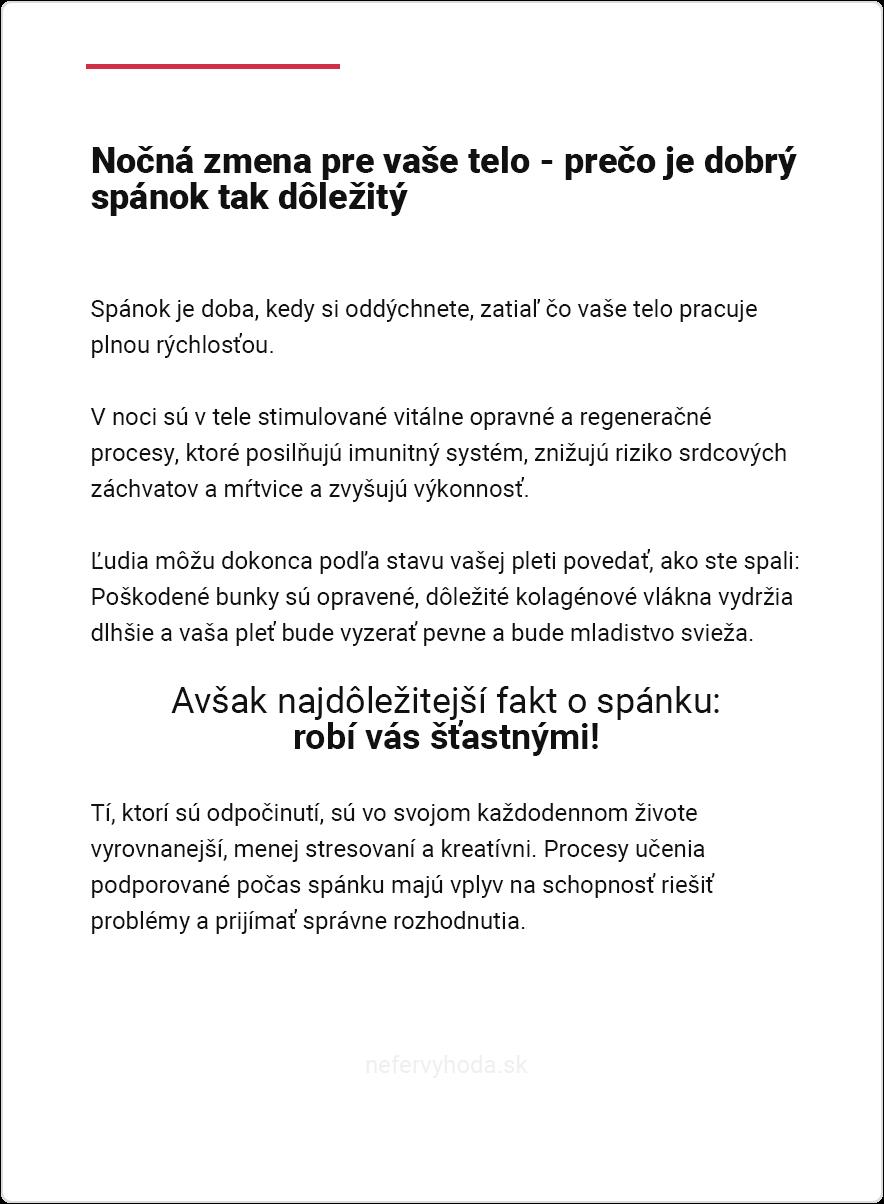 Náhľad ebook-u Spánok od Nefér Výhody