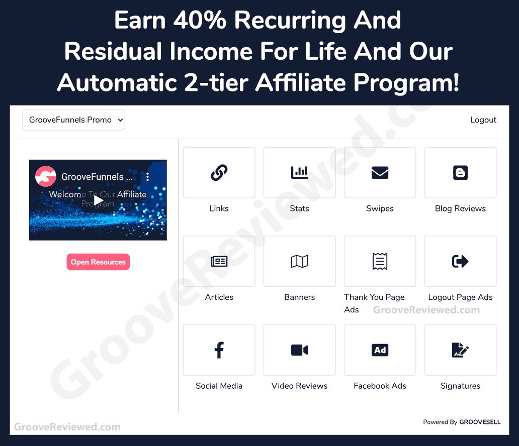 GrooveFunnels, GroovePages, GrooveSell Affiliate Program Details: 40% recurring commissions for life and 2nd Tier 10% recurring commissions. Groove Affiliate Program promotional tools. [GrooveReviewed.com]