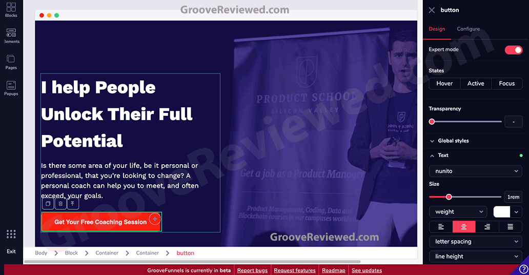 GrooveFunnels & GroovePages Drag-and-drop site builder, funnel builder software. Create sales funnels, landing pages and websites quickly and easily, optimized for Google page speed and SEO for free organic traffic. Alternative to ClickFunnels, Kartra, Builderall and Wordpress. [GrooveReviewed.com]