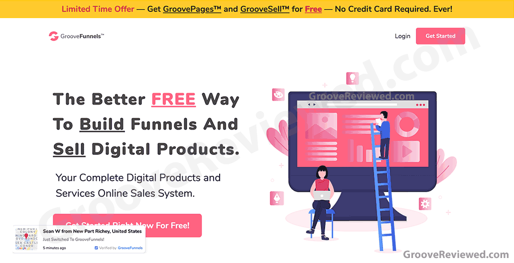 GrooveFunnels, the better free way to build funnels and sell digital products. Complete digital products and services online sales system. Get started for free. No credit card required. Get GrooveSell for free for a limited time. [GrooveReviewed.com]
