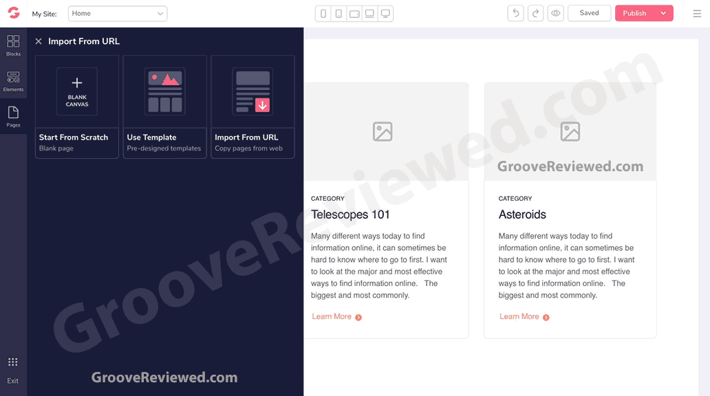 GrooveFunnels allows you to import sites and pages from the internet and adapt them to your own needs. Migrate your funnels and landing pages from ClickFunnels. Move your membership site from Kartra or Kajabi. This is something we're really excited about! [GrooveReviewed.com]