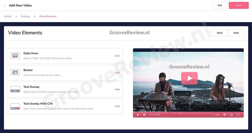 GrooveFunnels Platinum omvat GrooveVideo. We kunnen met ons publiek op meerdere extra manieren communiceren wanneer ze onze video's bekijken, door formulieren, banners of tekst overlays toe te voegen of door een reeks van e-mails te starten op basis van hoe ver ze in de video hebben gekeken. We kunnen zelfs video's gaan split-testen!  [GrooveReview.nl]