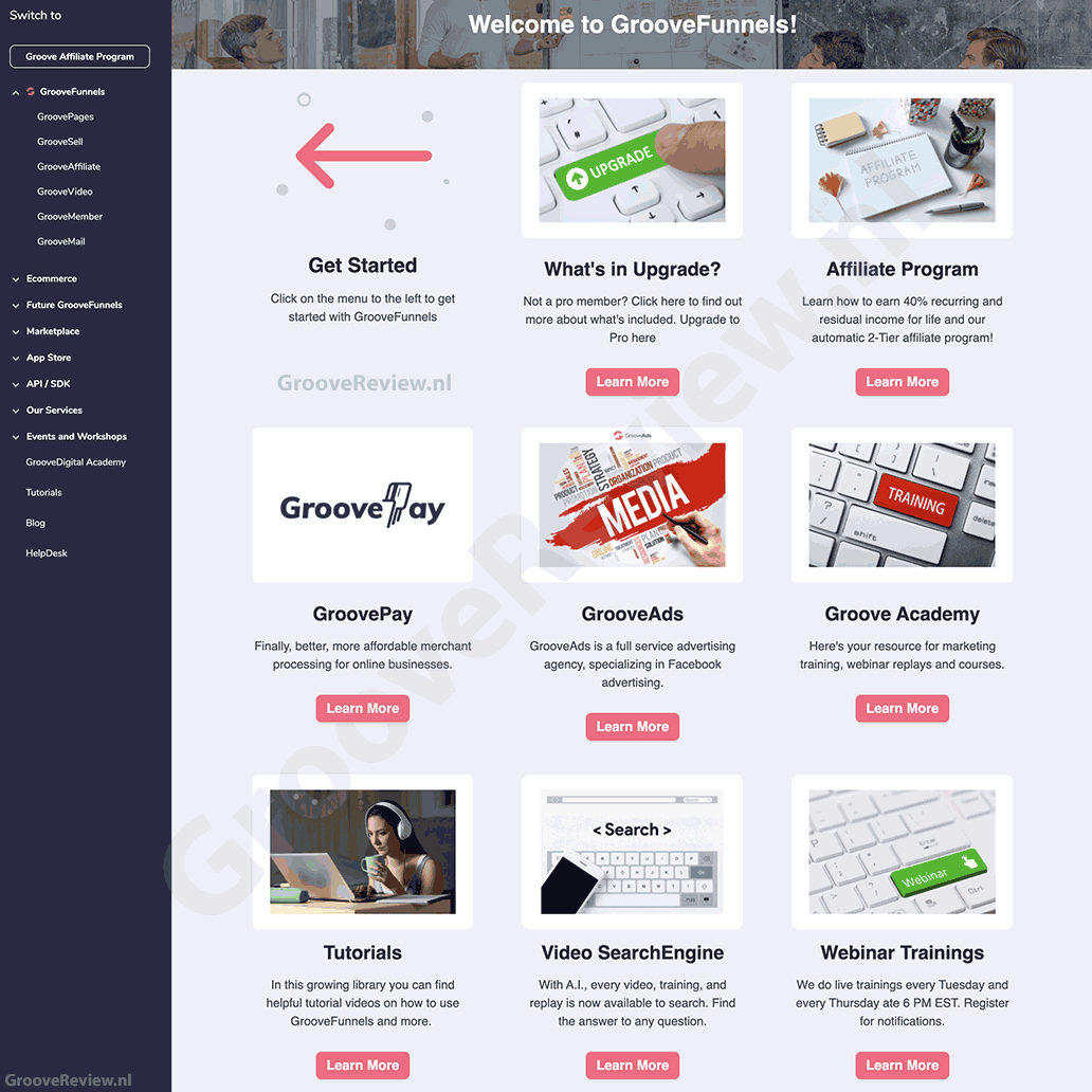 GrooveFunnels Dashboard. Hoe ziet GrooveFunnels eruit? GroovePages, GrooveSell, GrooveAffiliate, GrooveVideo, GrooveMember, GrooveMail, Ecommerce, GroovePay, GrooveAds, GrooveAcademy, Affiliate Program. [GrooveReview.nl]