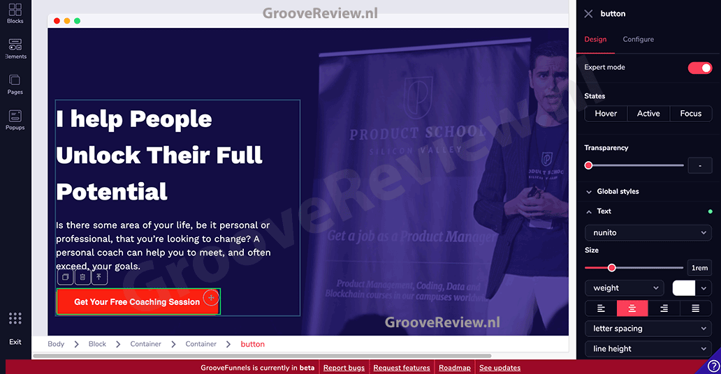 GrooveFunnels & GroovePages drag-and-drop site builder, sales funnel builder software. Maak snel en eenvoudig sales funnels, landingspagina's en websites, geoptimaliseerd voor Google page speed en SEO voor gratis organisch verkeer naar je site. Alternatief voor ClickFunnels, Kartra, Builderall en Wordpress. [GrooveReview.nl]