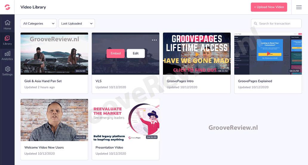 GrooveFunnels & GrooveVideo. Video's uploaden, omzetten en host. Voeg banners, formulieren, tekst overlays, watermerken en thumbnails toe. Split-test je video's. Custom player controls & statistieken standaard ingebouwd. Start acties op basis van hoeveel van uw video, of tot waar er is gekeken. Vimeo, Wistia, YouTube video hosting alternatief. [GrooveReview.nl]