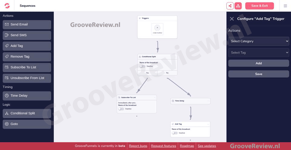 GrooveFunnels & GrooveMail. Verstuur follow-up e-mails, SMS tekstberichten, voeg tags toe, verwijder tags, time delay. ActiveCampaign, Awebber, Mailchimp, Actionetics, Follow-up Funnels Alternatief. Opt-in mailinglijst, CRM-software.  [GrooveReview.nl]