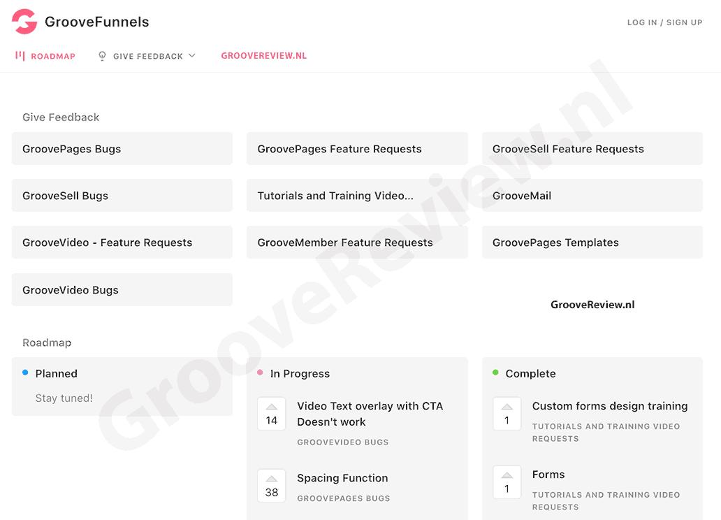 De GrooveFunnels online gemeenschap is top. Het bedrijf luistert actief naar wat gebruikers precies willen. Ze hebben eerlijke, open communicatie met publieke roadmaps, changelogs, een open ticketing systeem, en het upvoten van feature requests. Onbestaand bij ClickFunnels bijvoorbeeld.  [GrooveReview.nl]