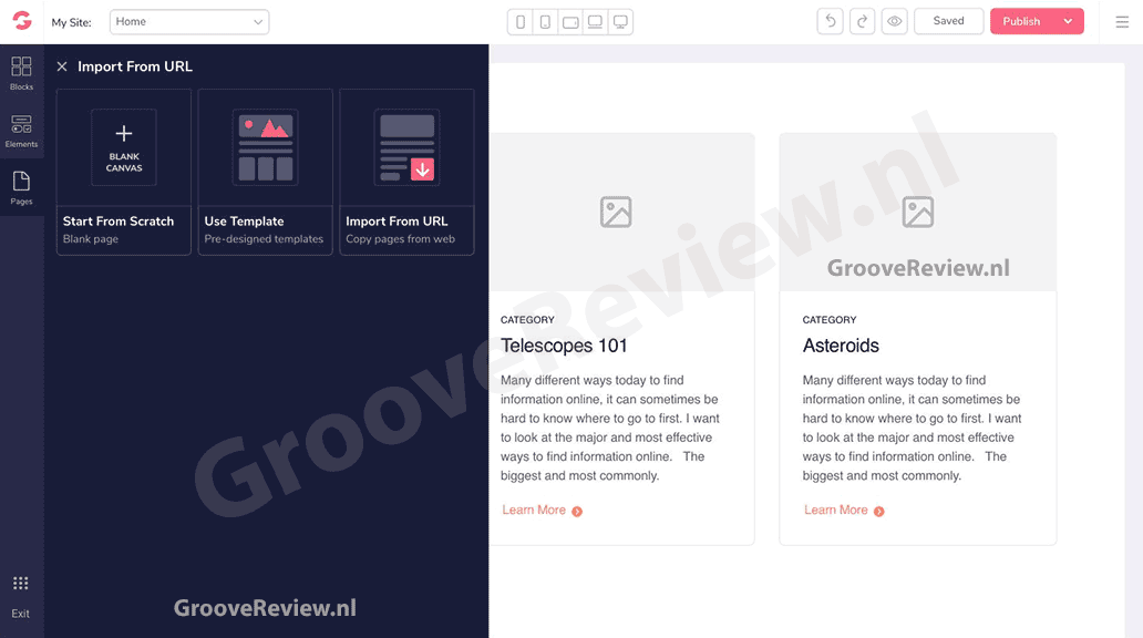 Met GrooveFunnels kun je sites en pagina's vanop internet importeren en aanpassen aan je eigen behoeften. Migreer je sales funnels en landingspagina's vanuit ClickFunnels. Verplaats uw lidmaatschapssite van Kartra of Kajabi. Hier zijn we erg enthousiast over!  [GrooveReview.nl]