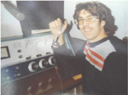 Dennis Walker at his first radio job in Creston