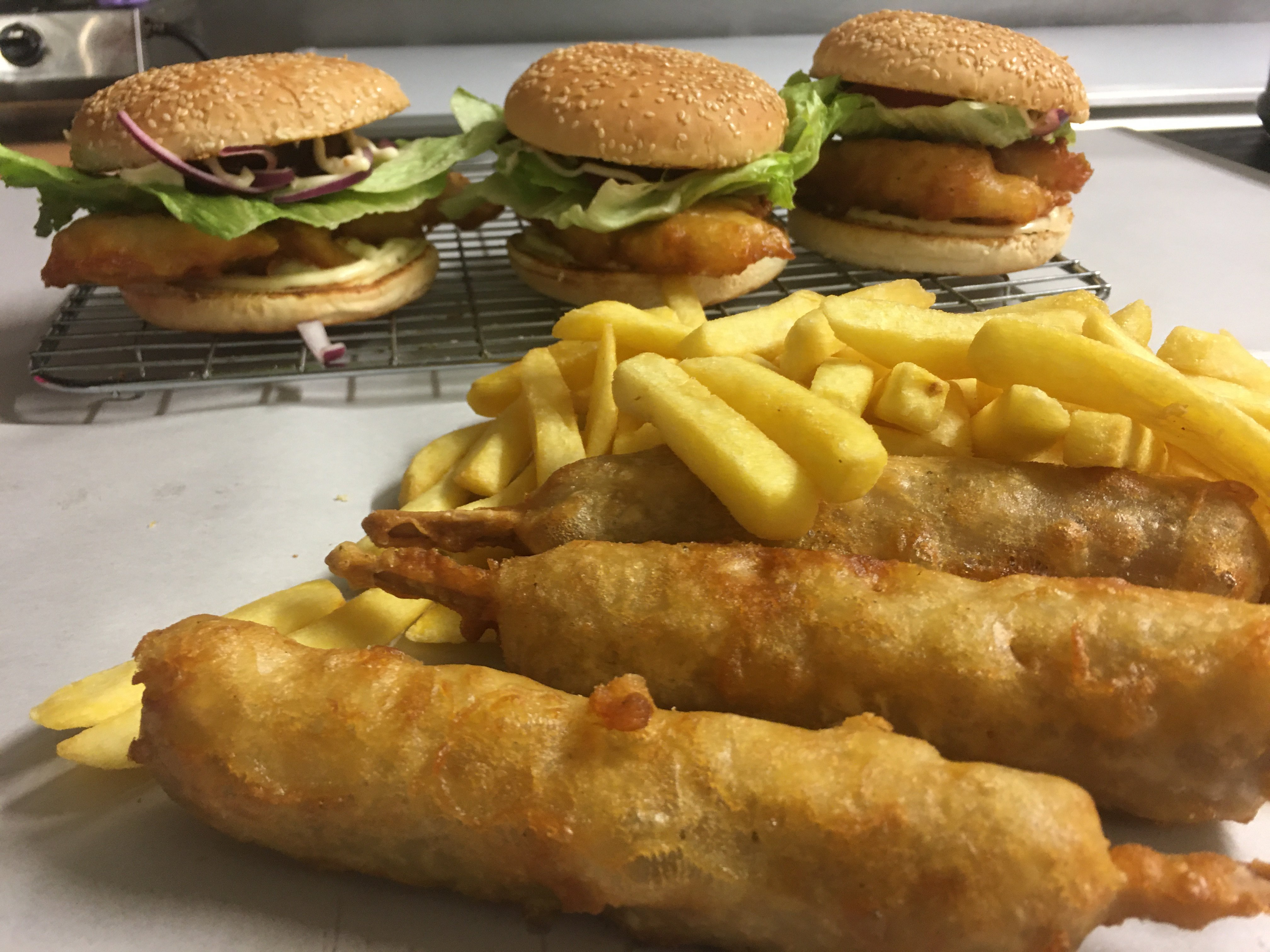PLU-A7 3 x Hoki Burgers, 3 x Hot Dogs, $6 chips