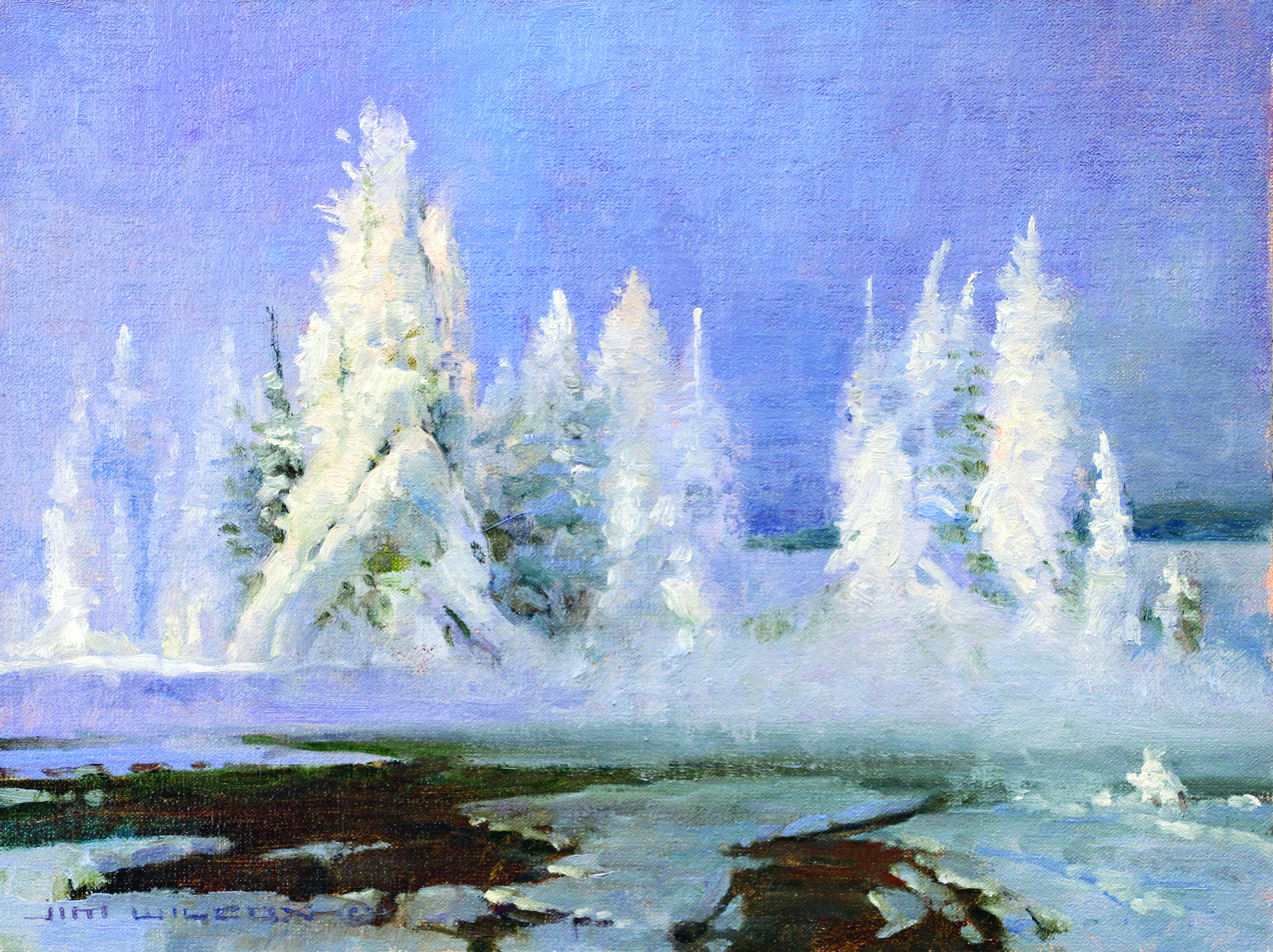 Jim Wilcox landscape painting art of Yellowstone in Winter