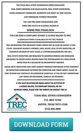 texas real estate consumer protection notice menu item