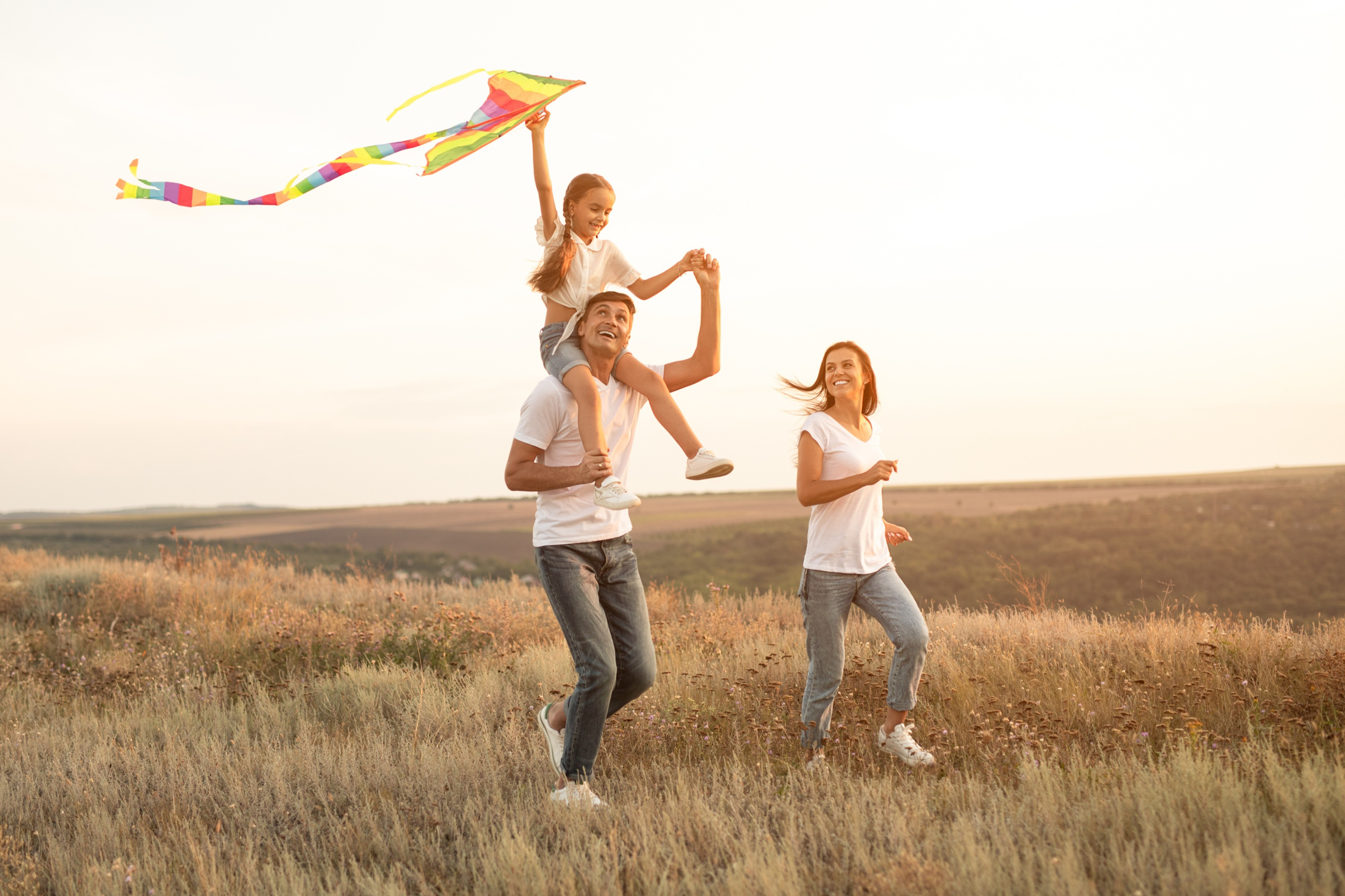 family mindfully playing and connected