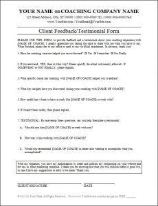 Client Feedback/Testimonial Form