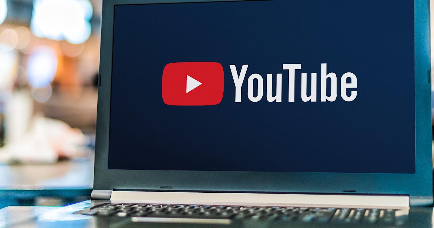 YouTubelogo on laptop scree