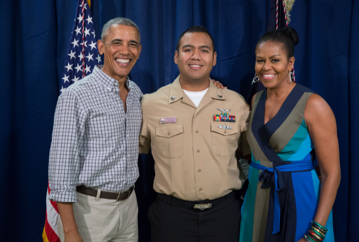 44th US President Barack Obama with Aulundrew Tedtaotao and First Lady Michelle Obama