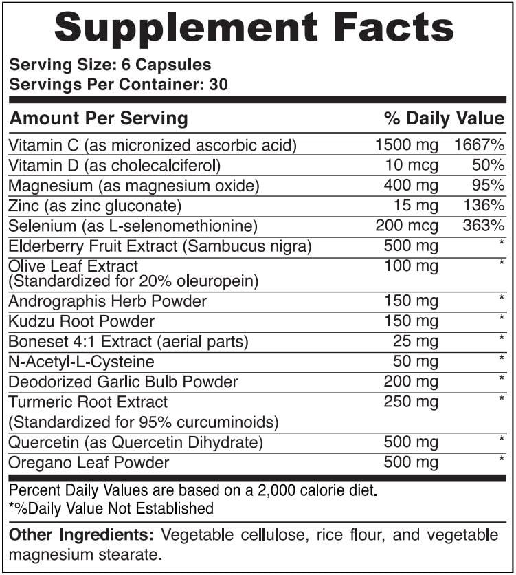 Immune PRO Supplement Facts