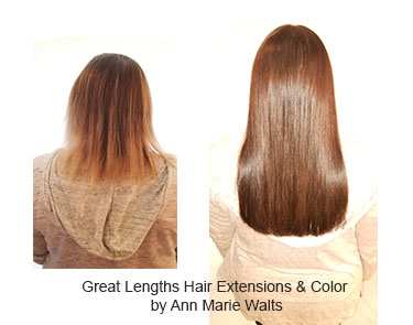 Hair extensions by Ann Marie Walts and color